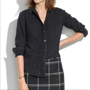 Madewell Black Chambray Button Down Top